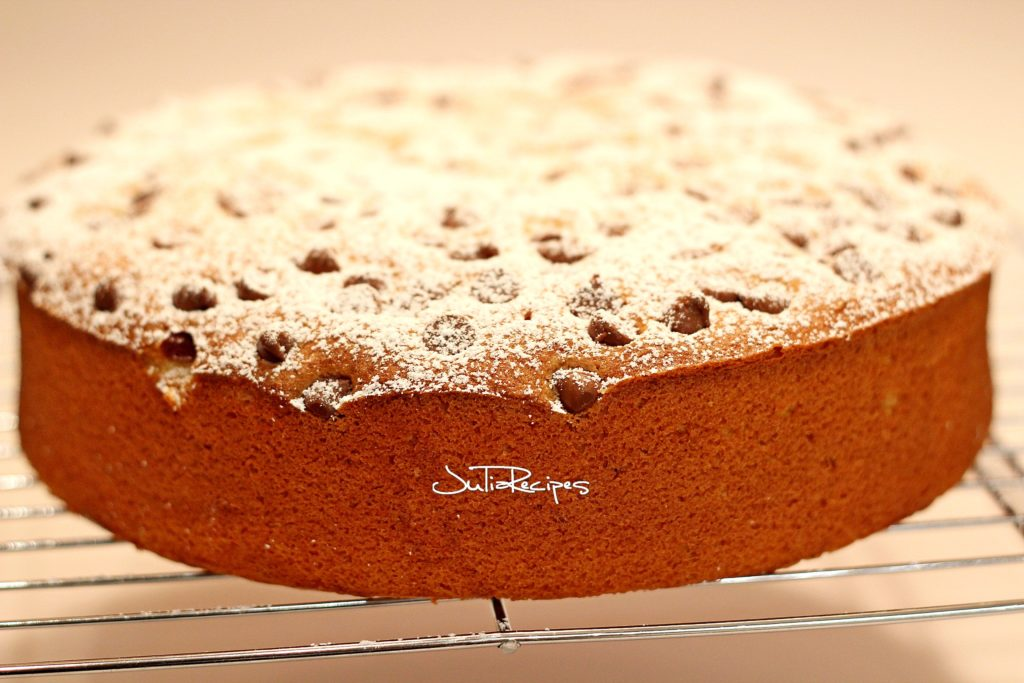 close up of lemon flavoured cake and with chocolate chips