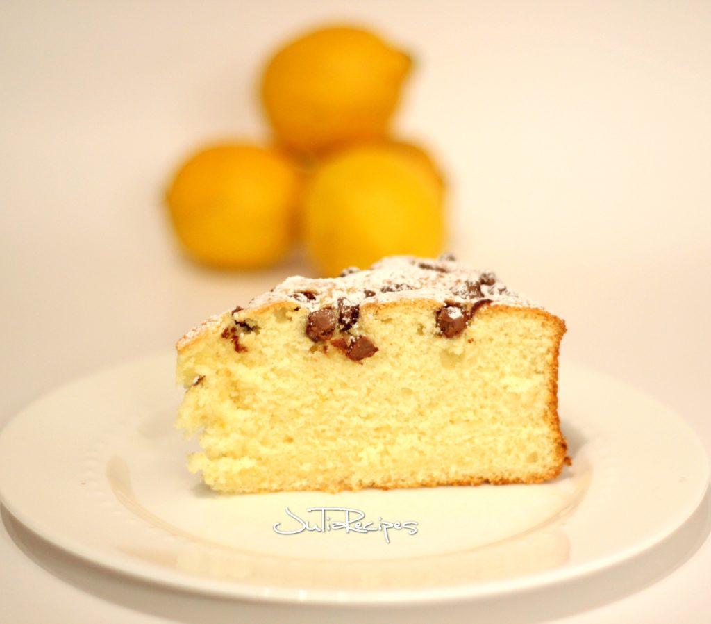 slice of lemon cake with chocolate chips
