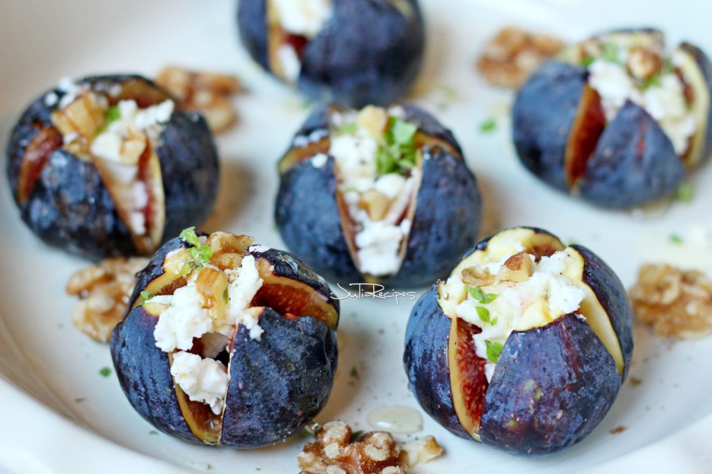 baked figs with goat cheese and walnuts