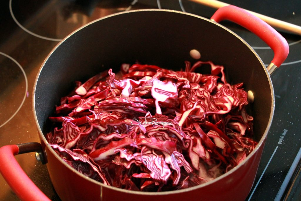 raw red cabbage in casserol