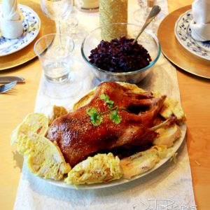 roasted duck on table