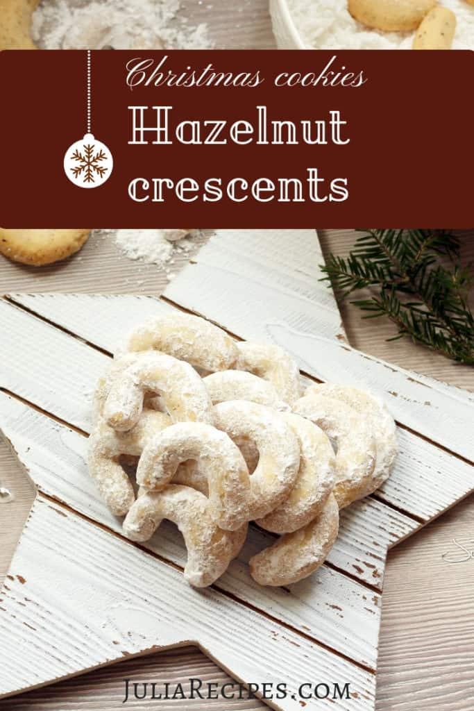 pinterest graphic with hazelnut creascents