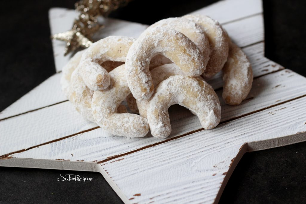 close up of holiday cookies in shape of a horn