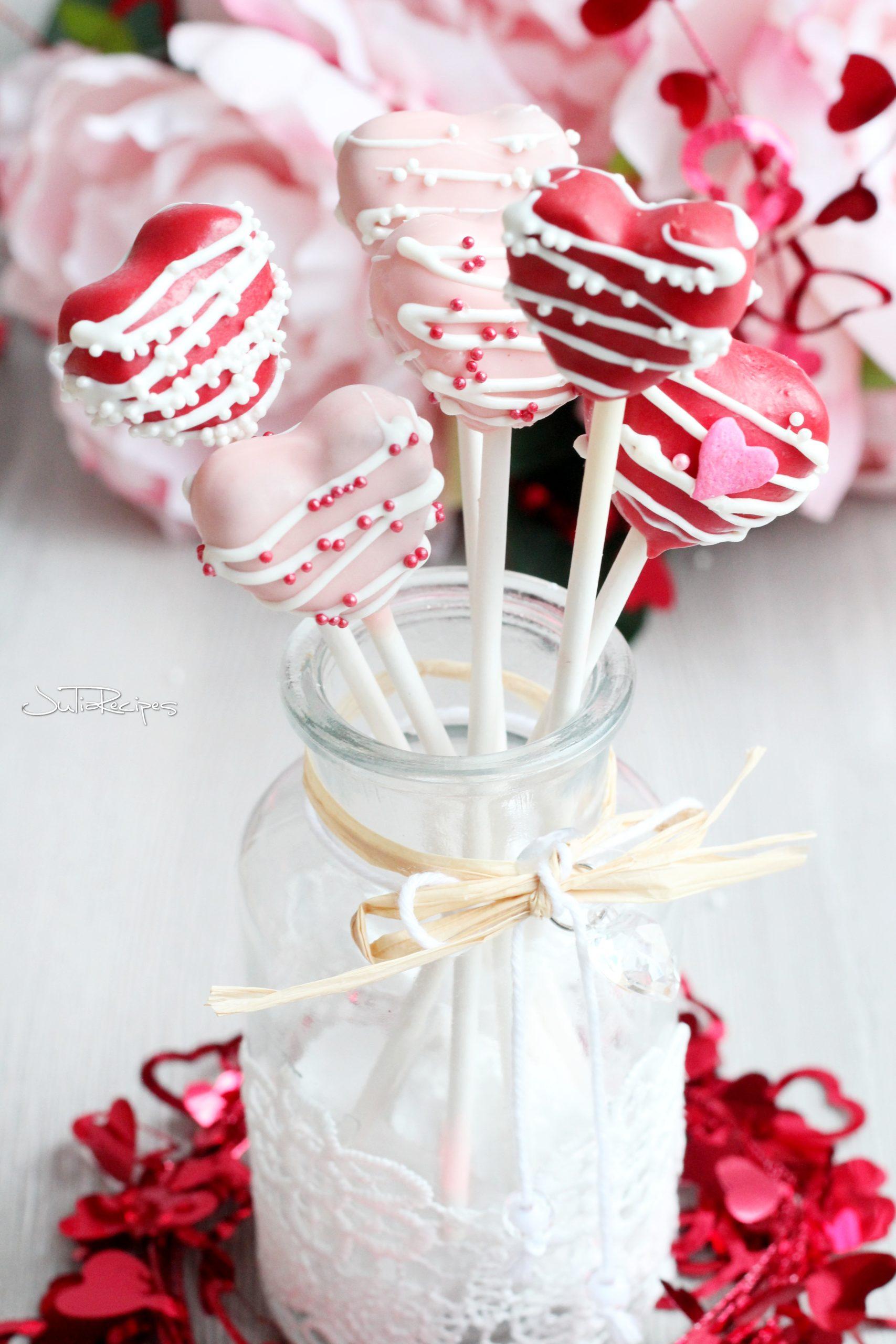 heart cake pops in glass