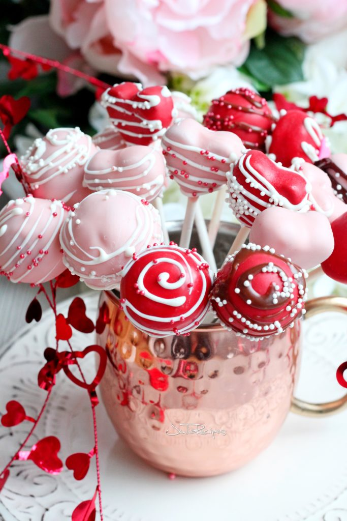 chocolate cake pops covered with candy melts