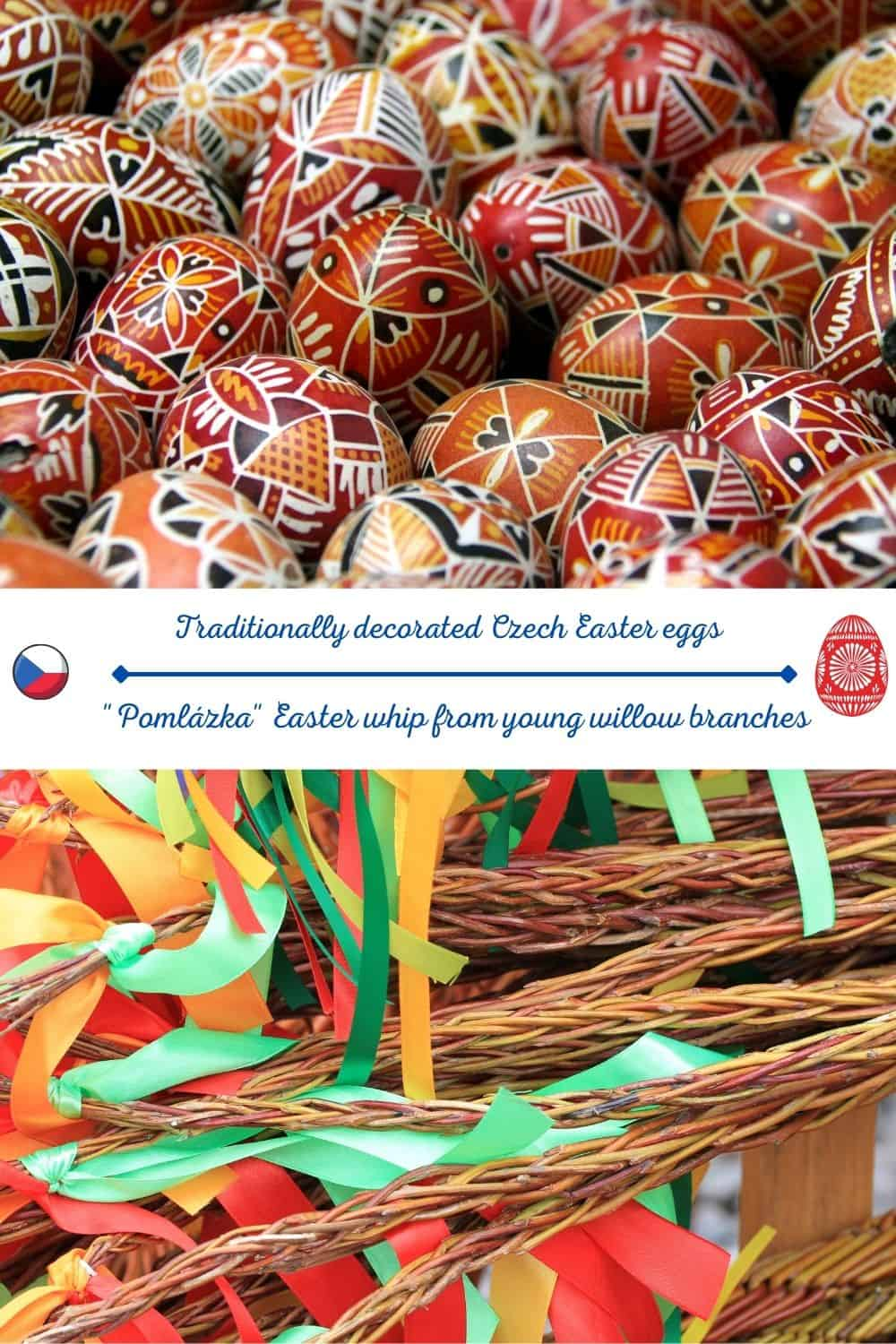 czech easter traditional eggs and pomlazka
