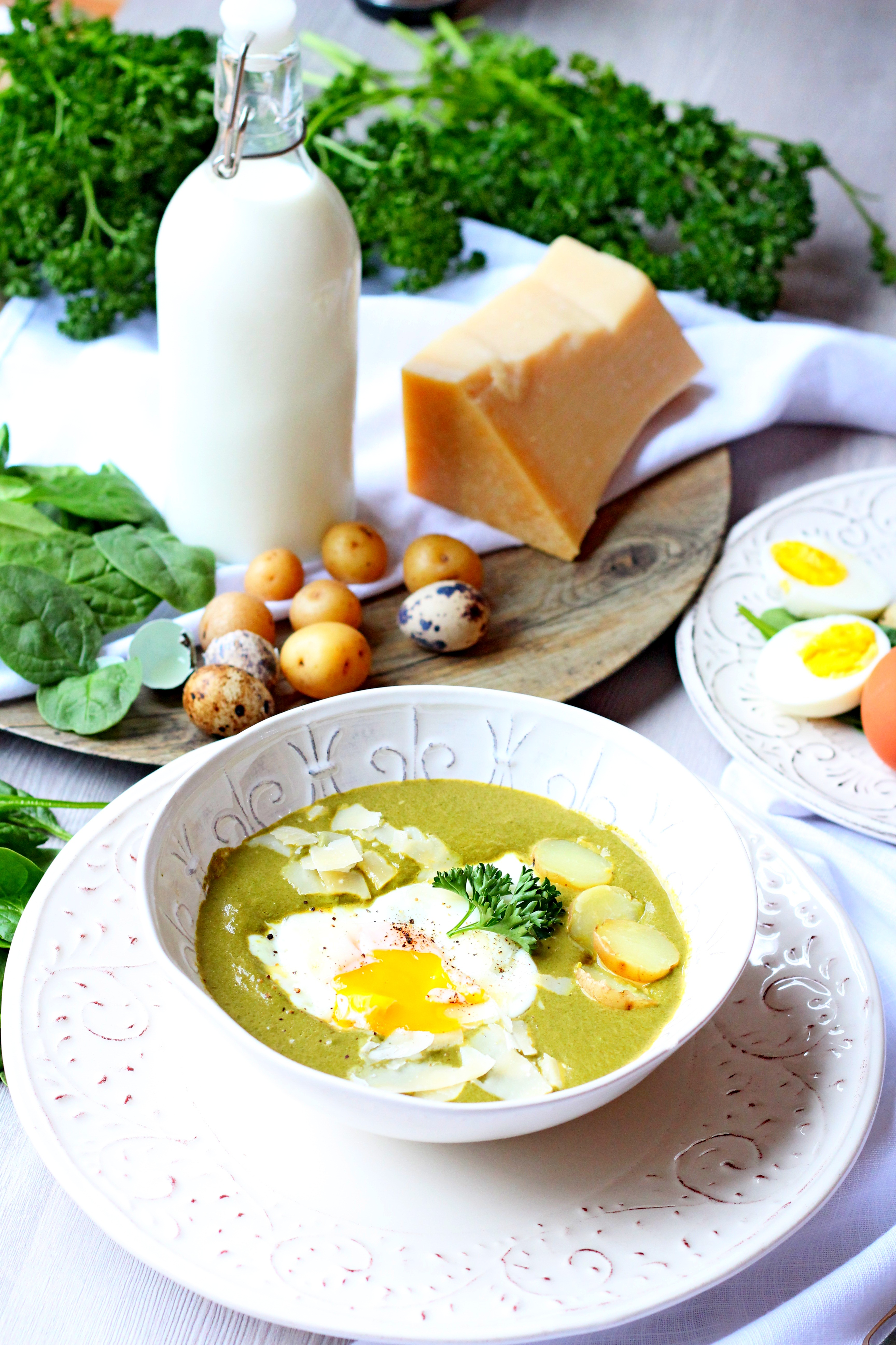 Easter creamy spinach with sunny side up and potatoes