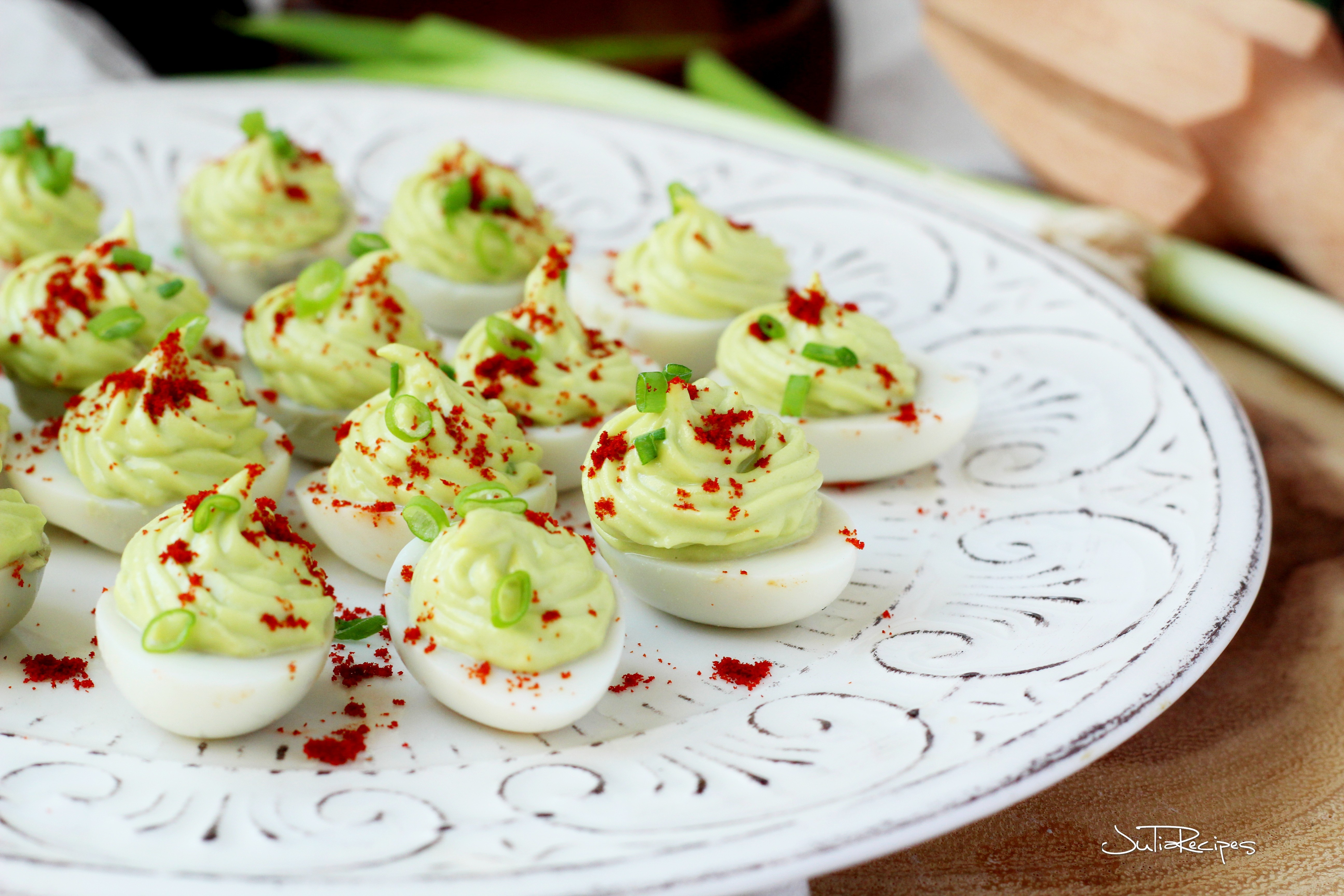 deviled eggs filled with avocado puree