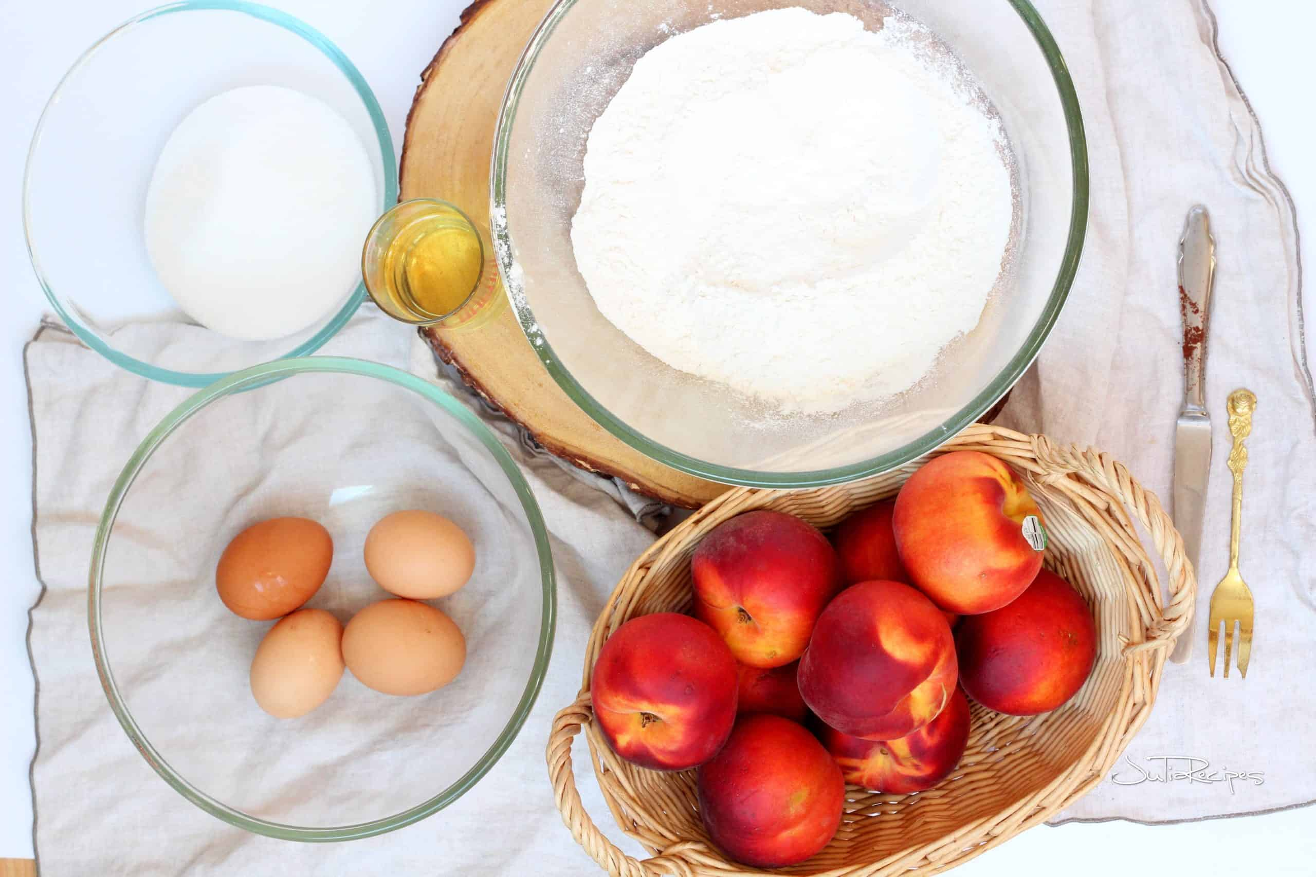 ingredients for peach streusel squares