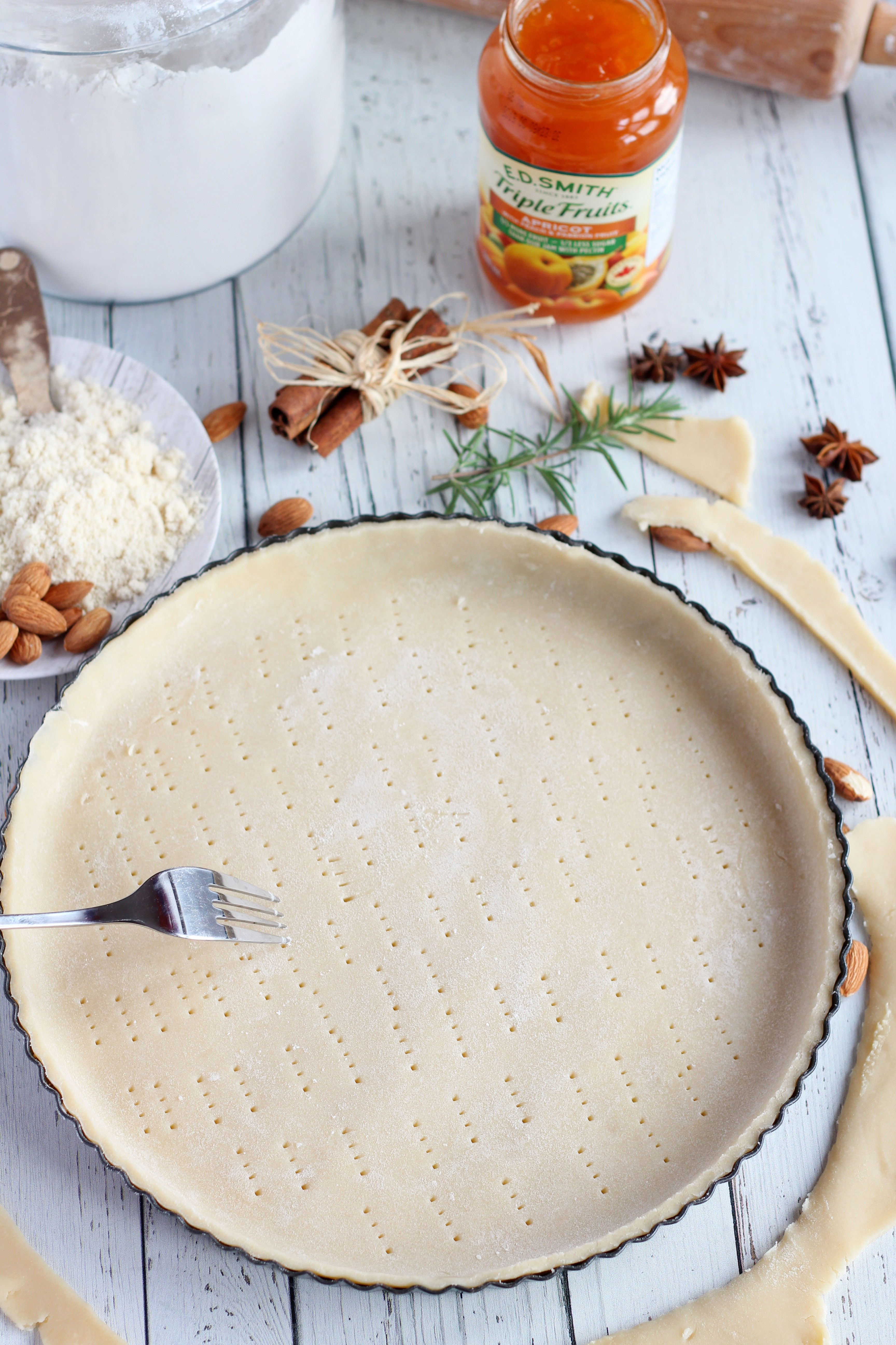 shortcrust pastry forked