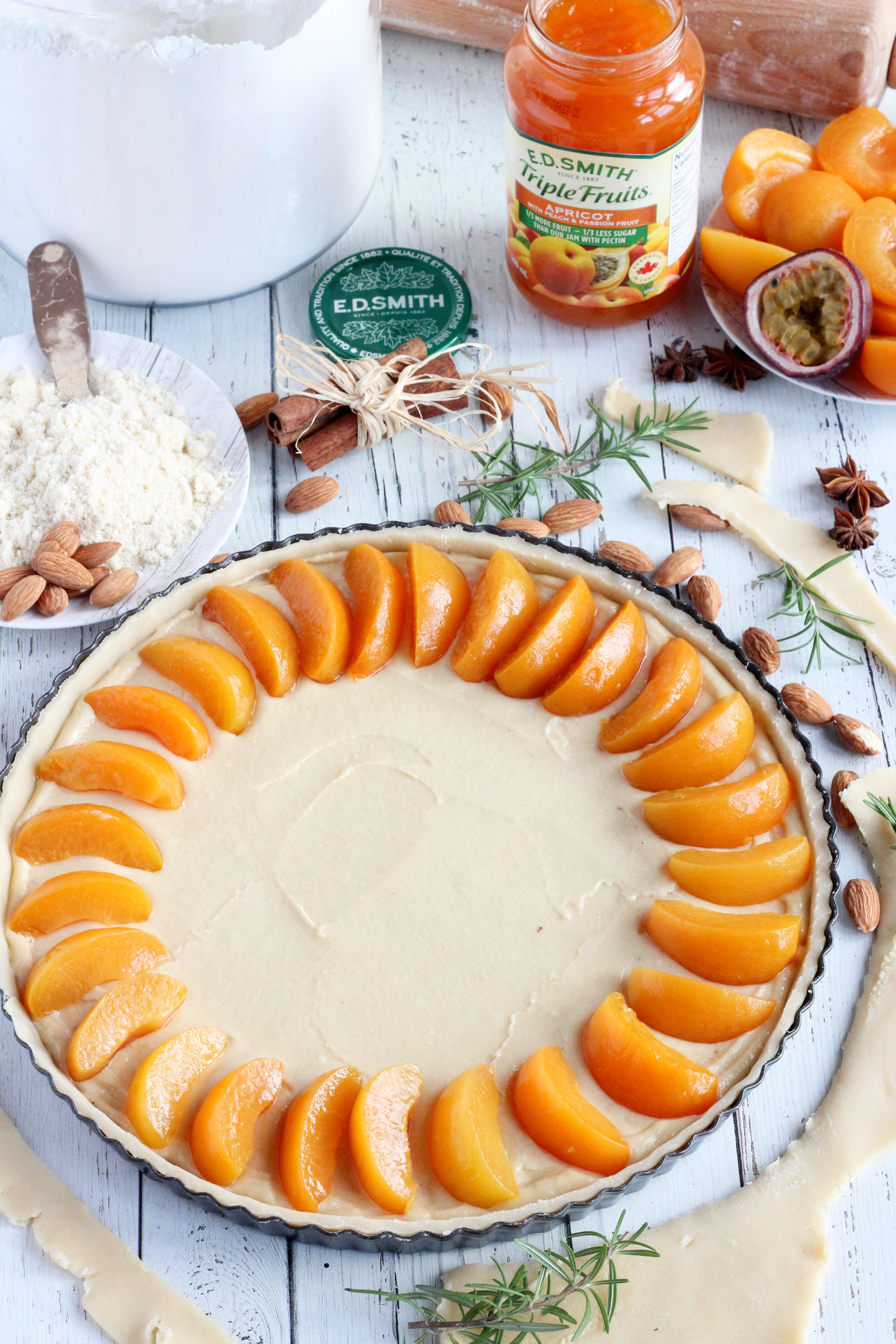 assembling apricot tart