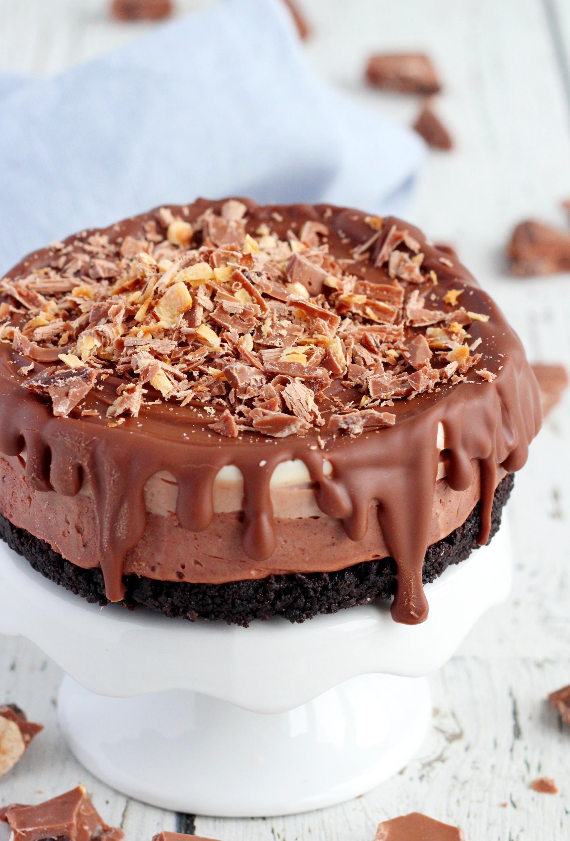 Triple chocolate cheesecake on cake stand