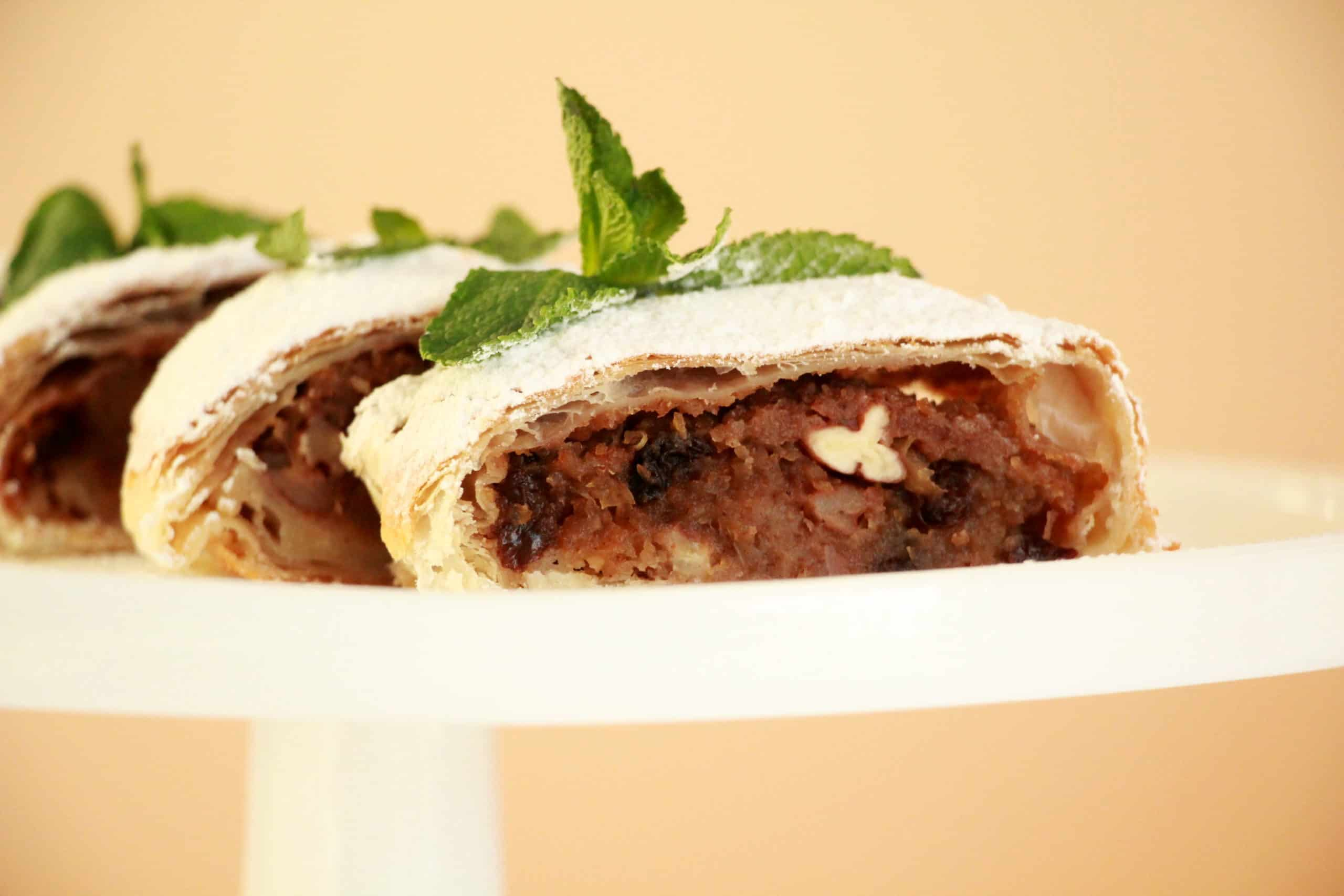 apple strudel made from puff pastry