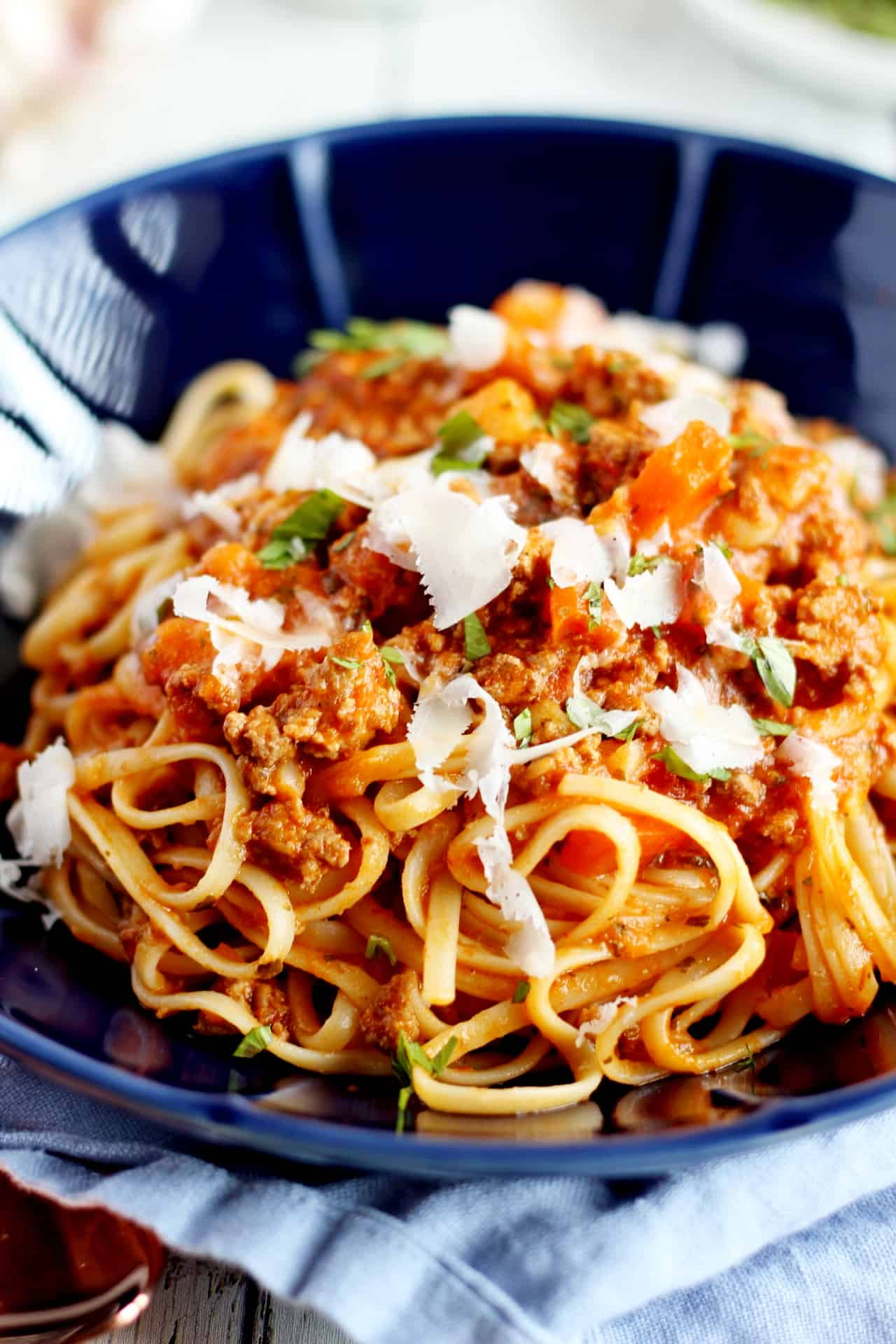close up on meat sauce with spaghetti