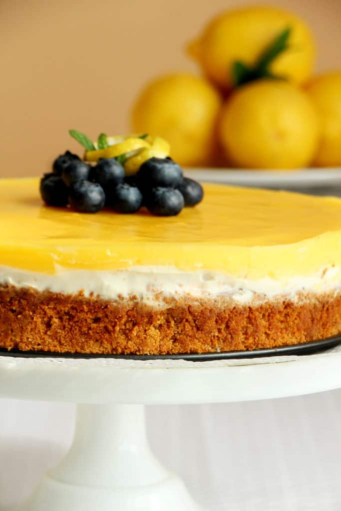 close up of lemon cheesecake