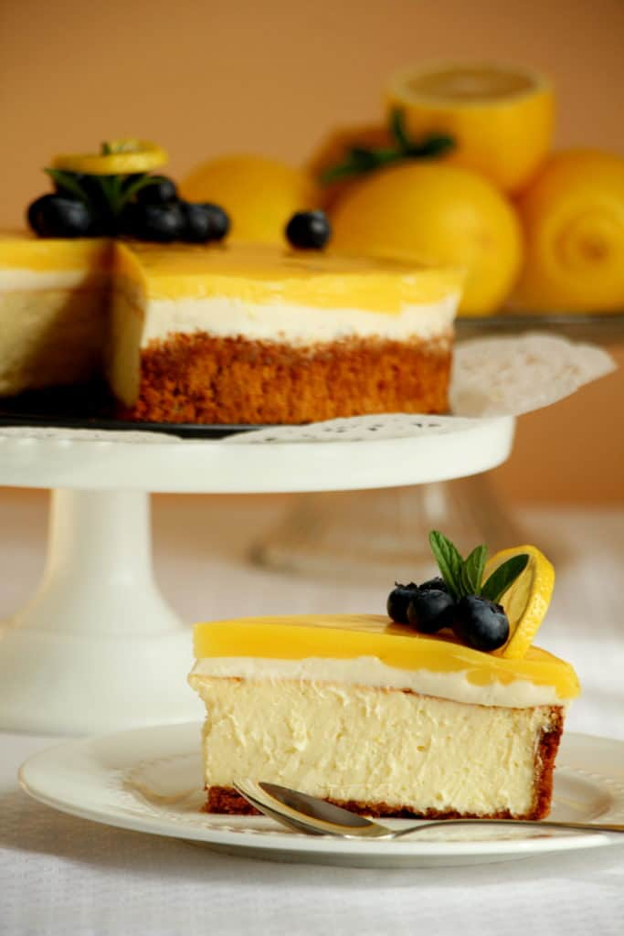 best lemon cheesecake slice on plate