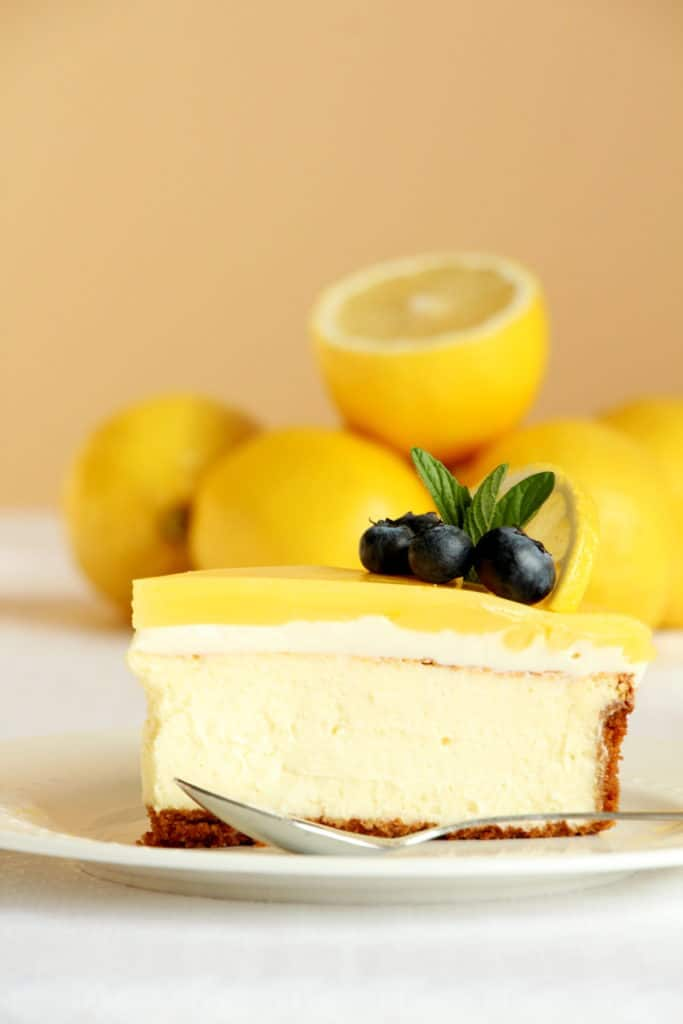 best cheesecake with lemon flavour on white plate