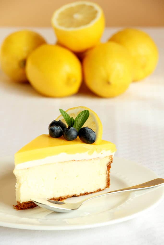 best lemon cheesecake on white plate