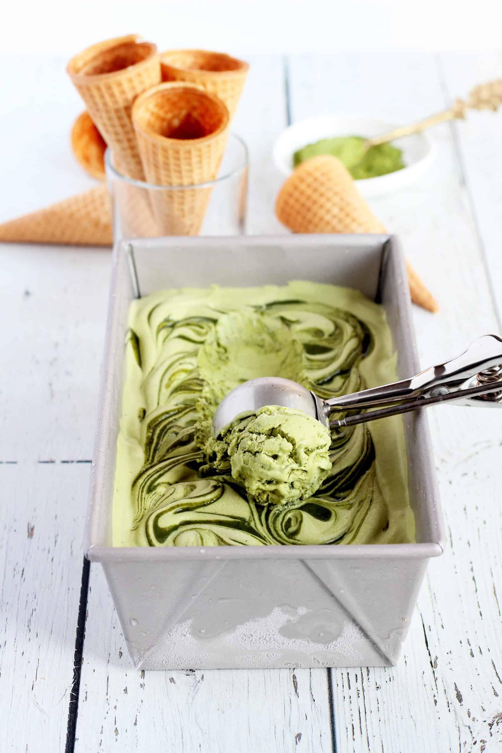 matcha green tea no churn ice cream