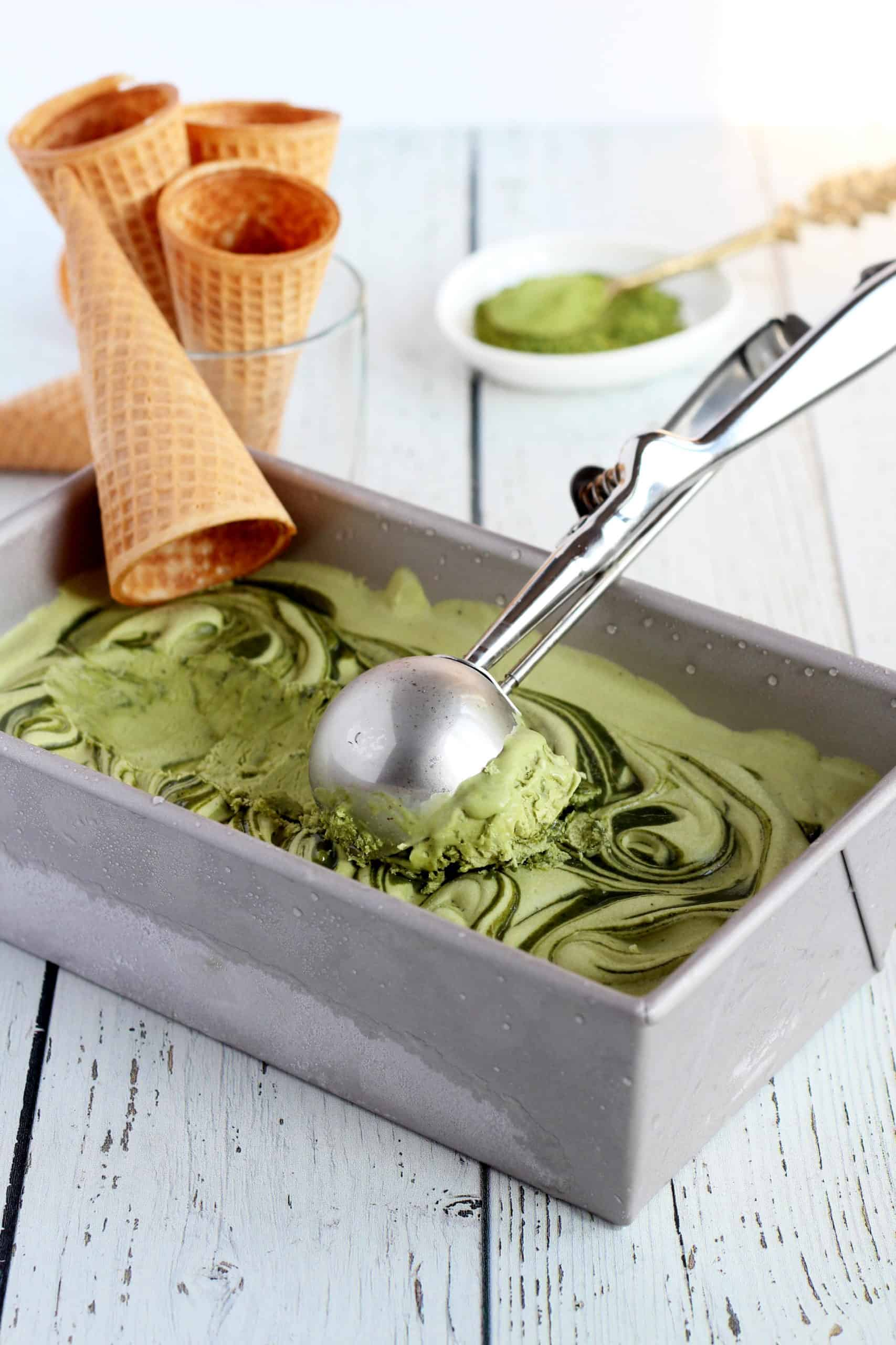 matcha ice cream in loaf panm