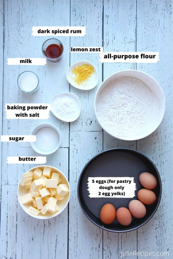 ingredients for sugar pastry dough