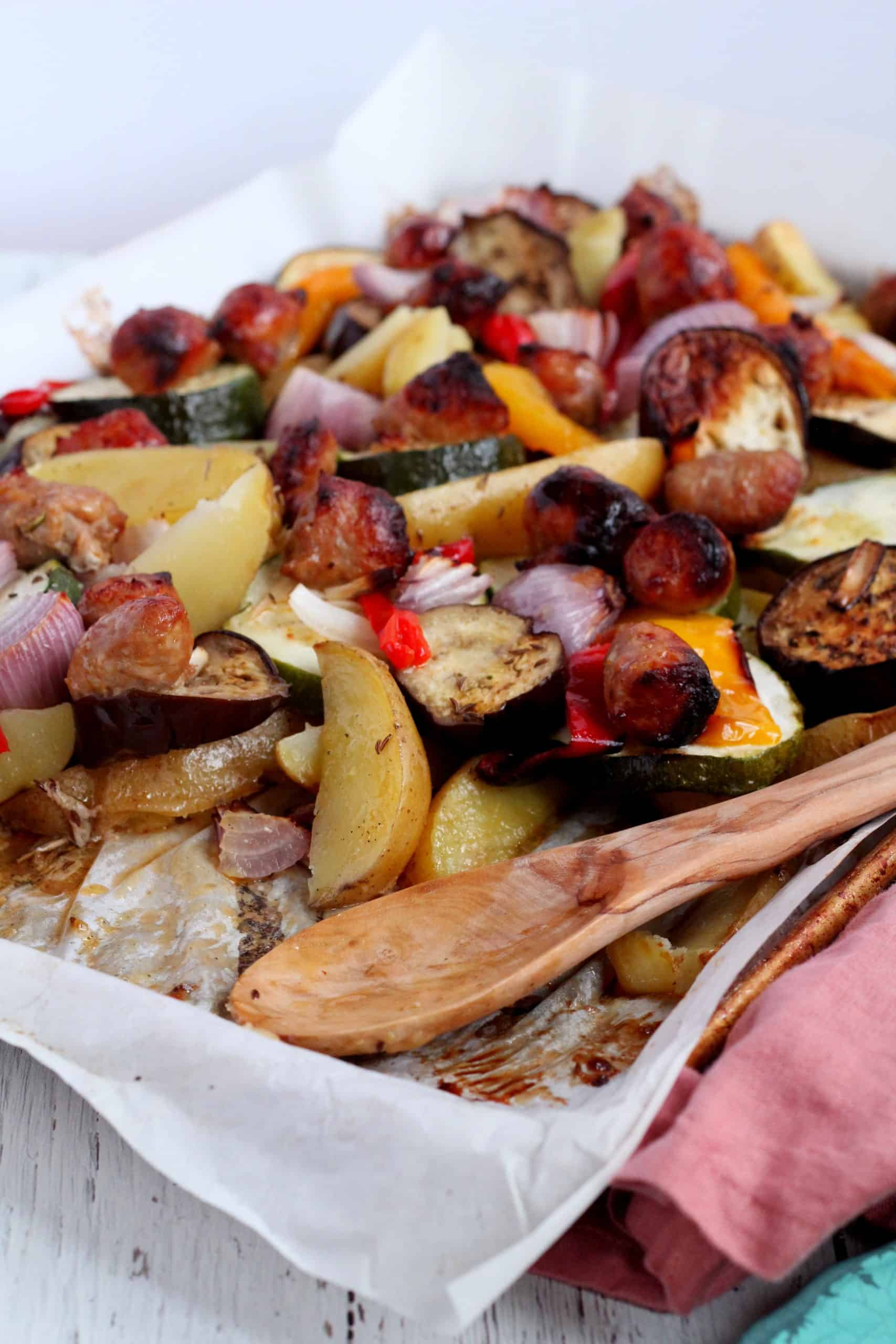 sausage and vegetables sheet pan
