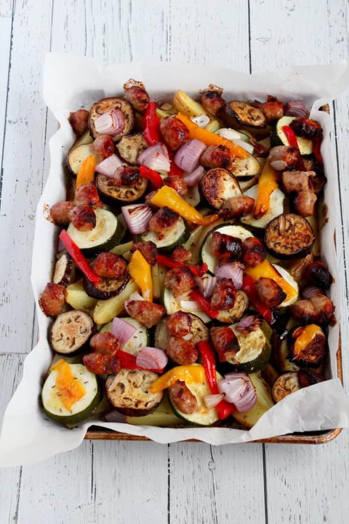baked sausage sheet pan