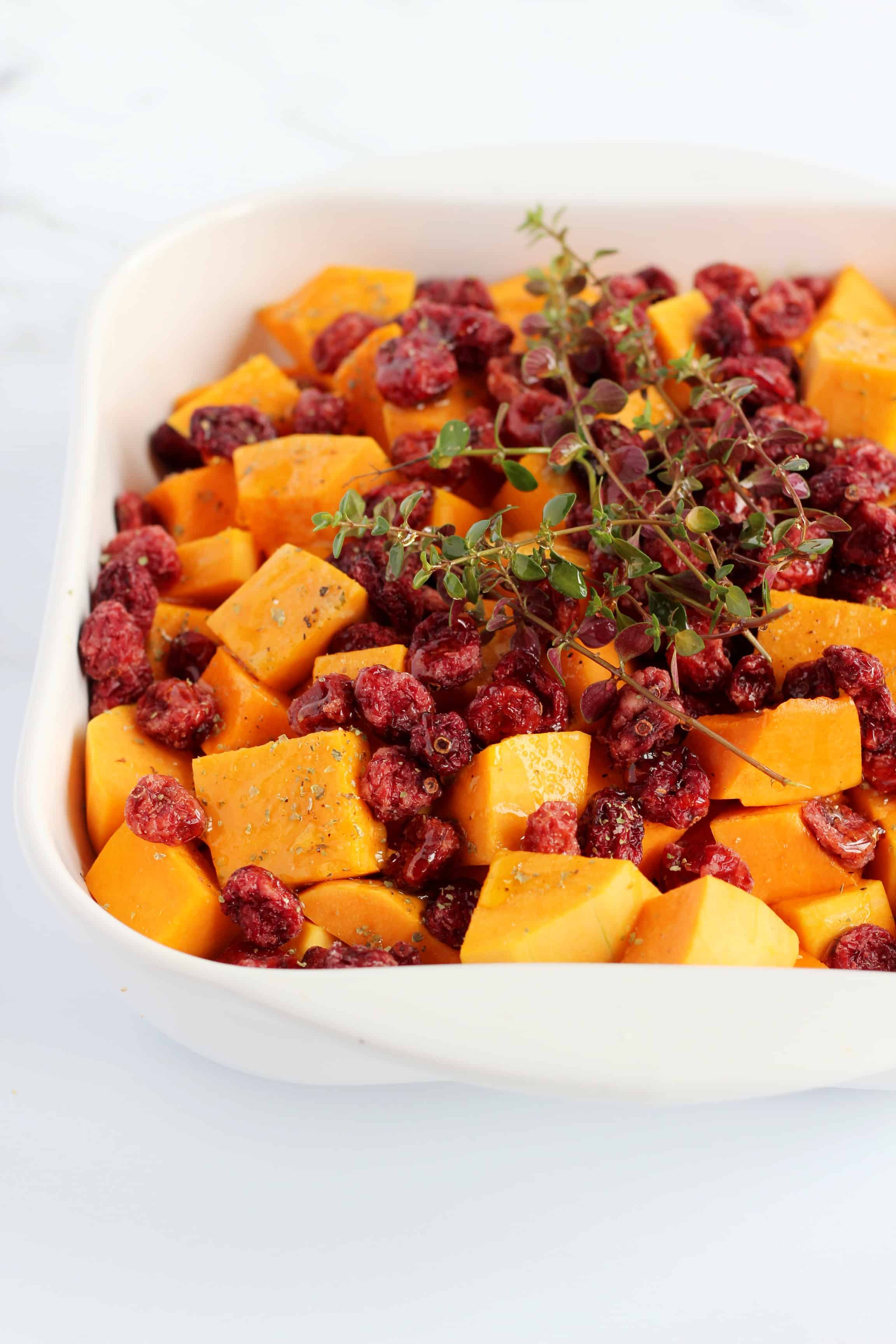 butternut squash cubes with Parmesan and cranberries