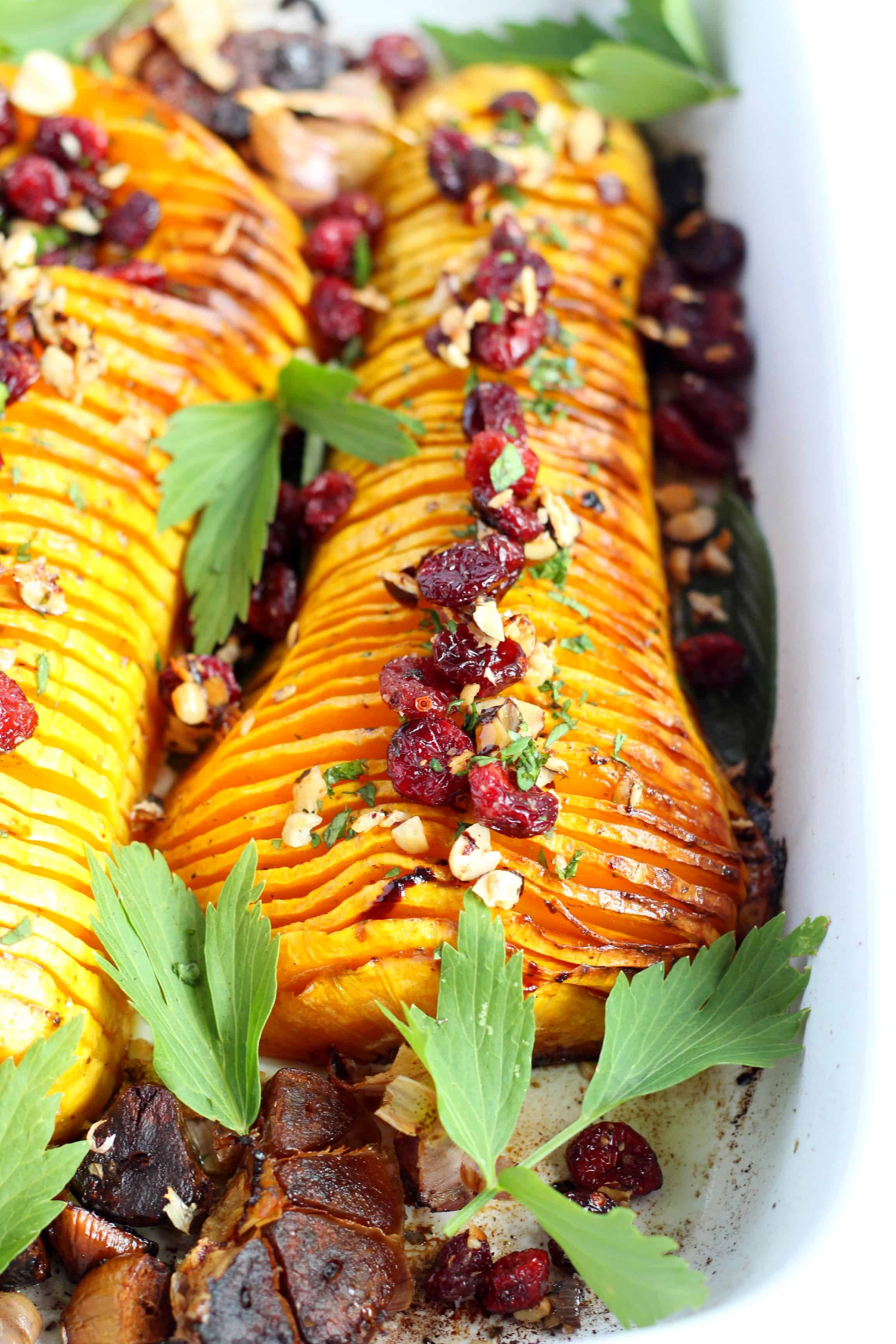 hasselback butternut squash with nuts and cranberries