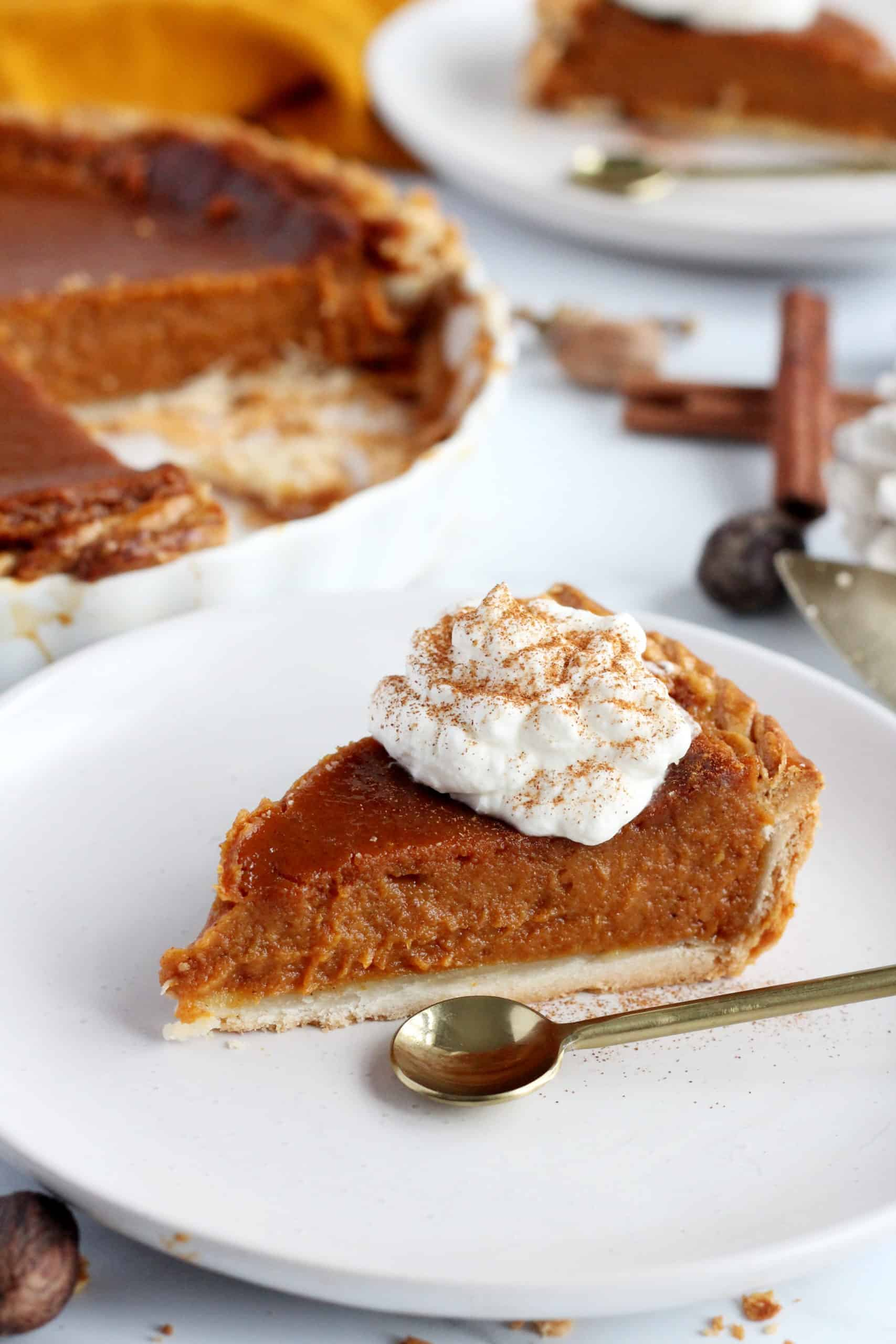 the close up of slice of pumpkin pie