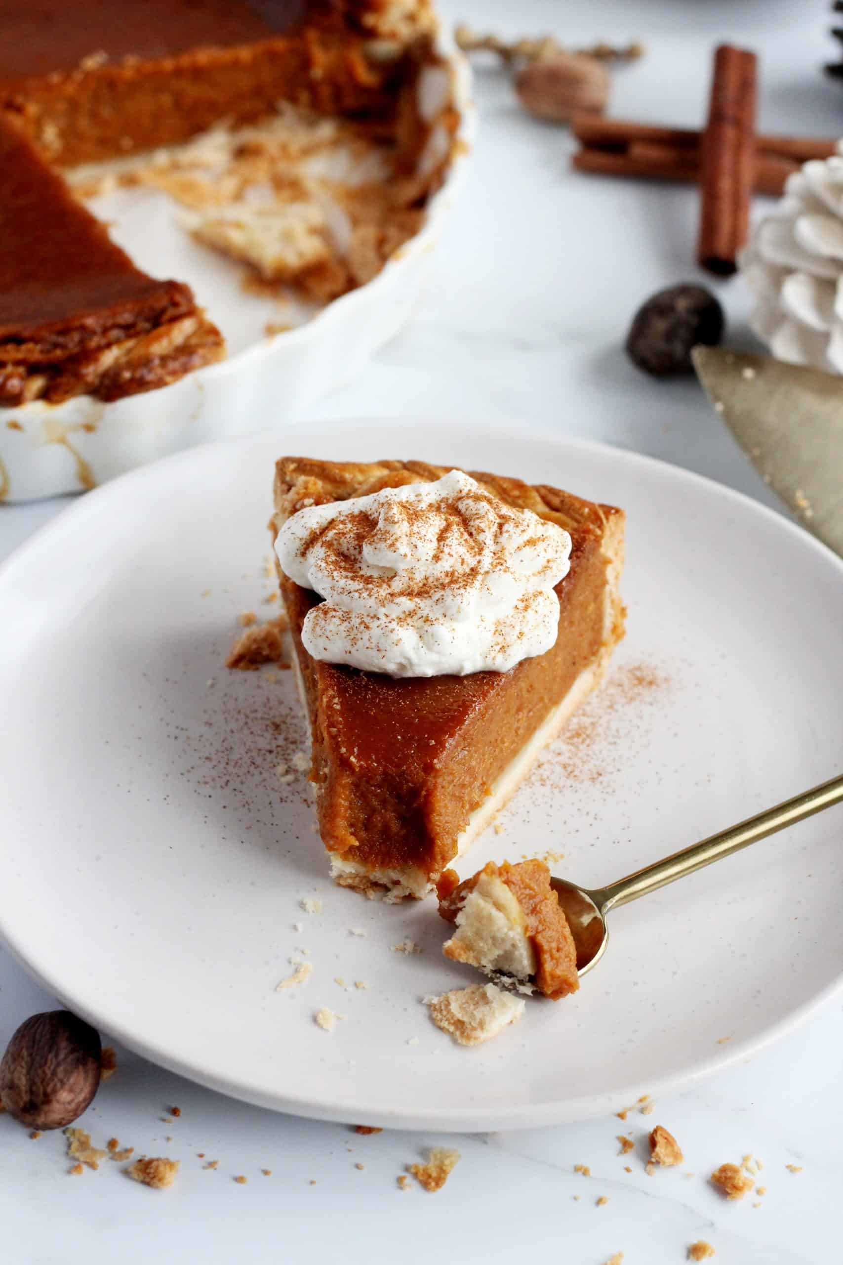 pumpkin pie slice close up with spoon