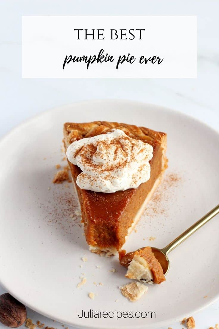 the slice of pumpkin pie with graphics for interest saying the best pumpkin pie ever