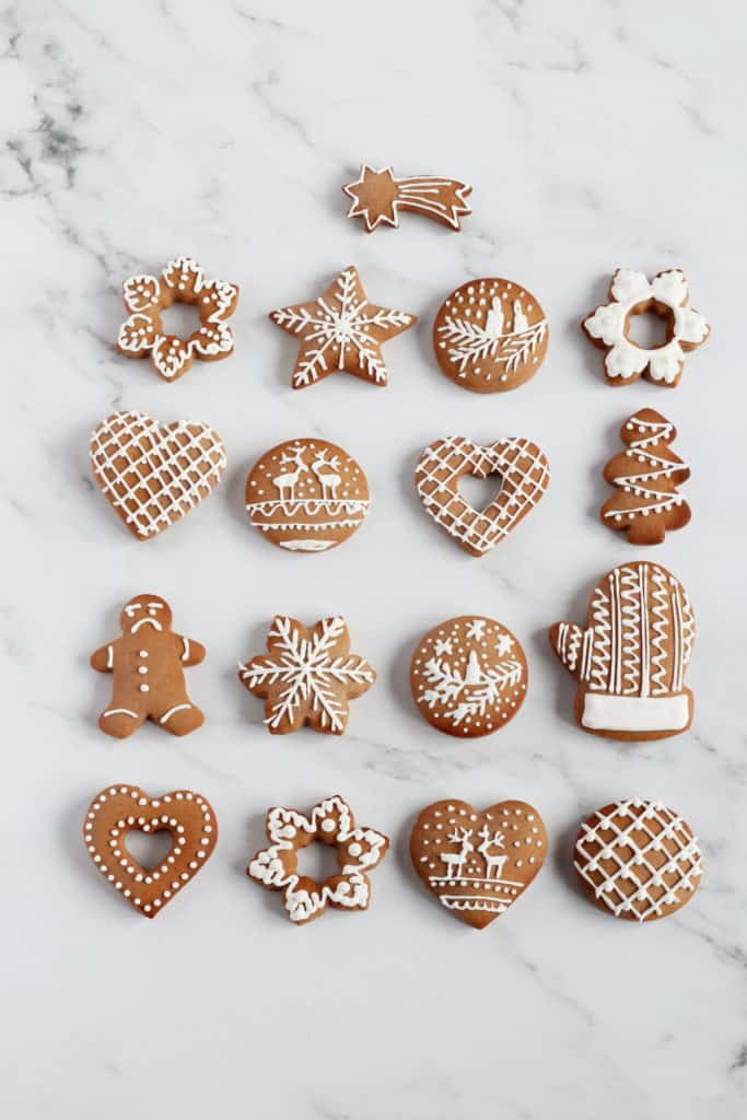 gingerbreads decorated with egg white icing