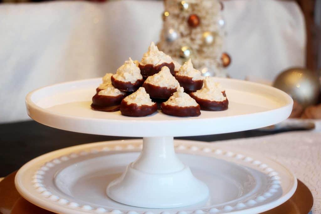 coconut cookies dipped in dark chocolate