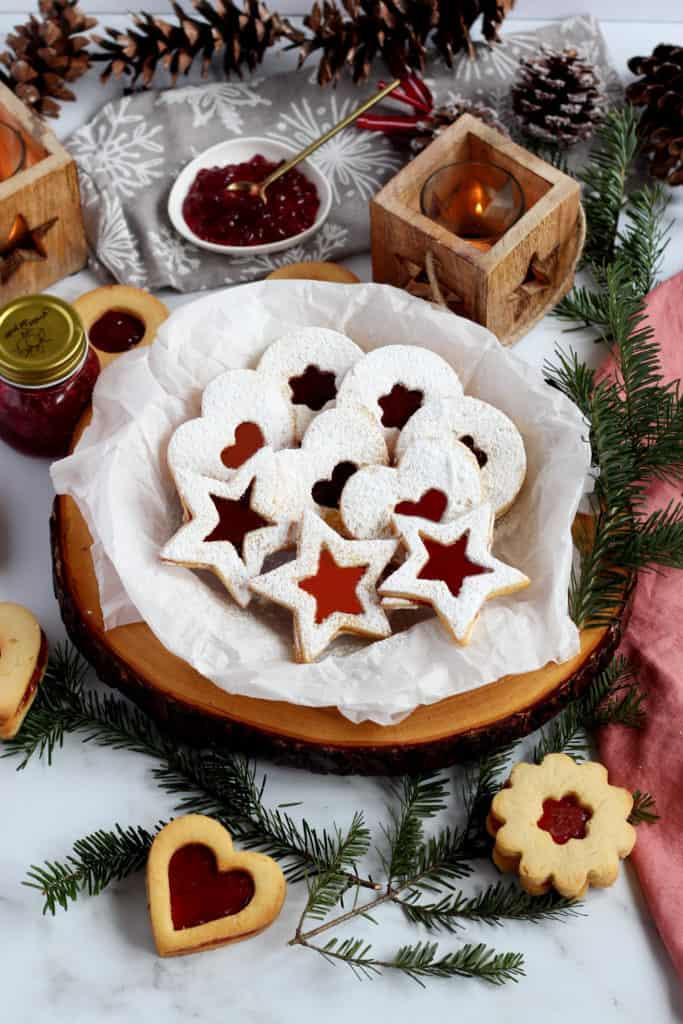 linzer cookies stars
