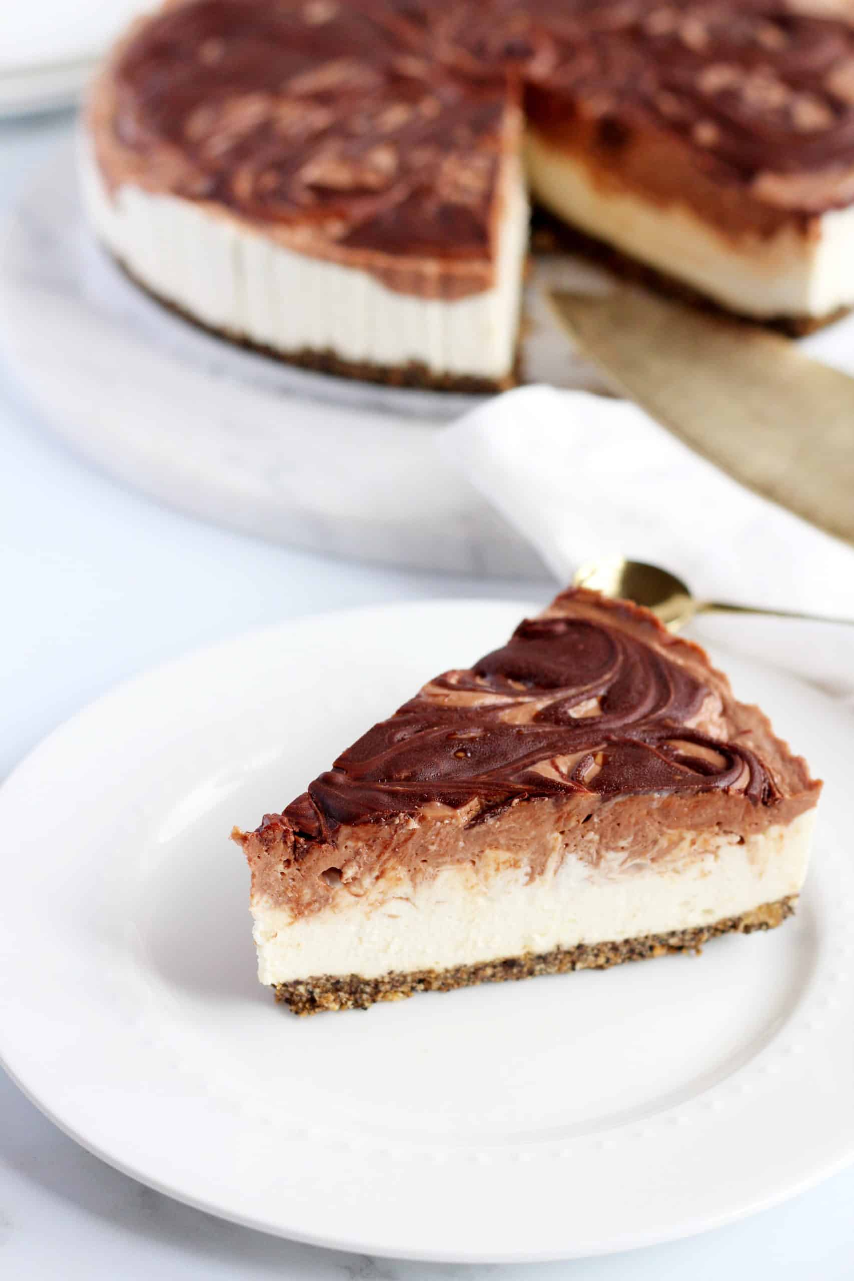 Nutella swirl Cheesecake on white plate
