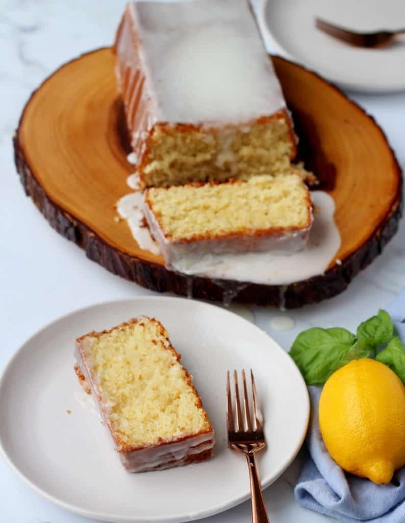 Lemon pound cake with glaze