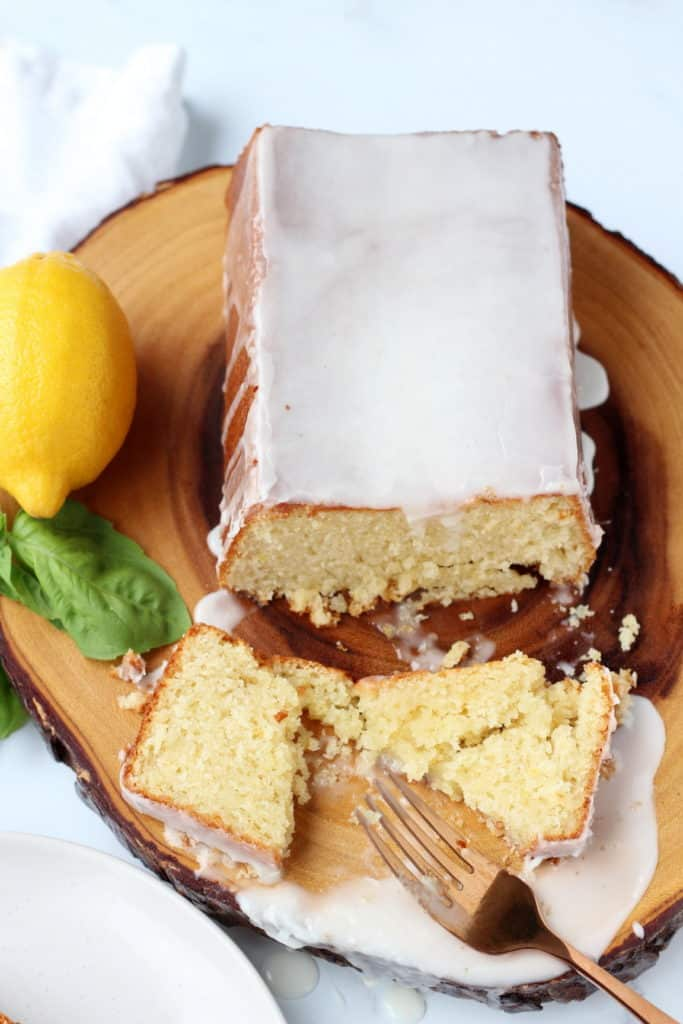 Lemon pound cake with drizzled lemon glaze