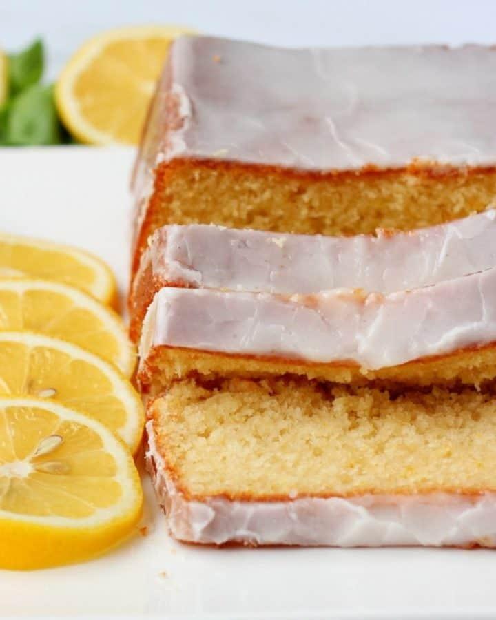 lemon pound cake slices on plate