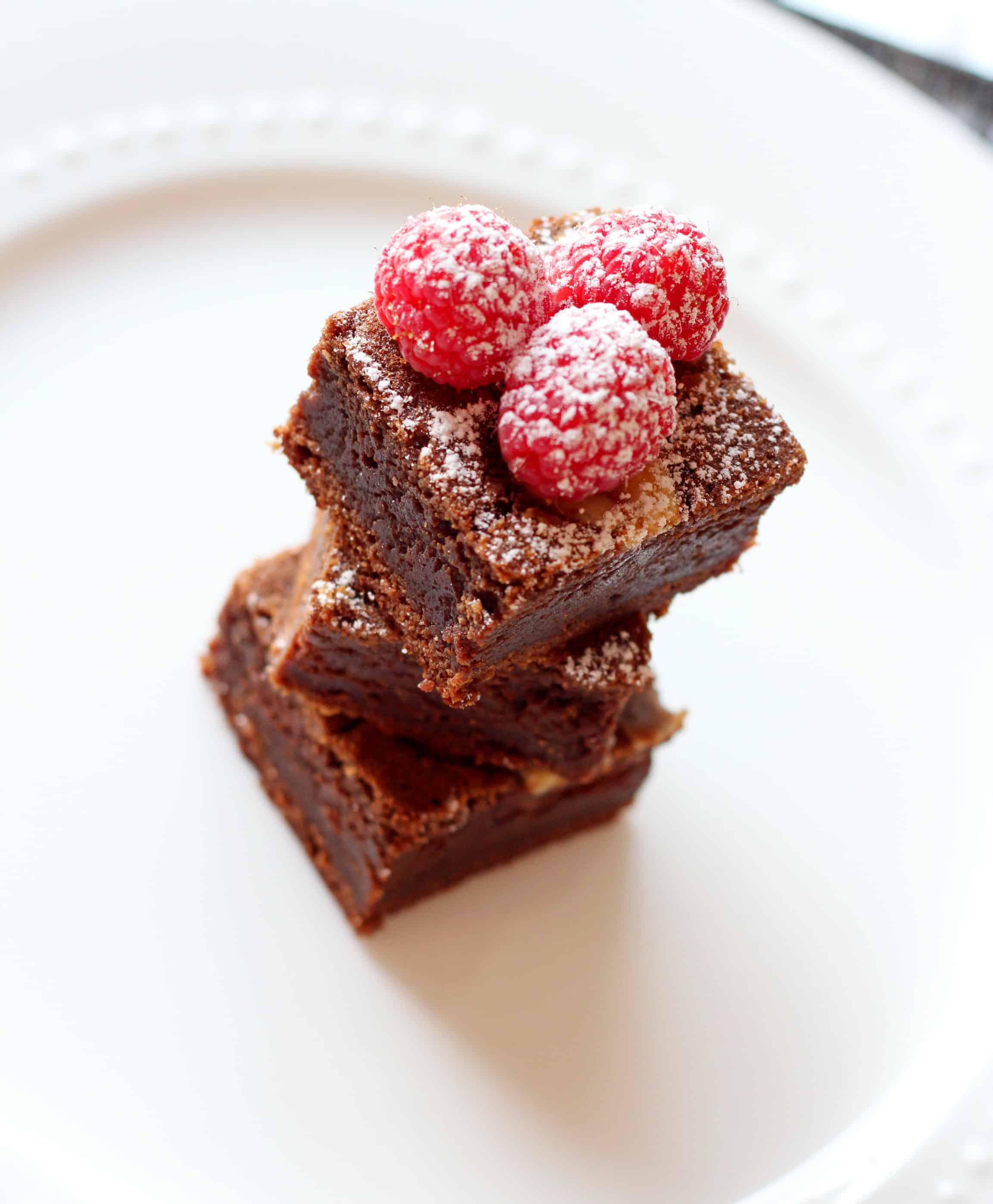 Brownies in tower with rasberries