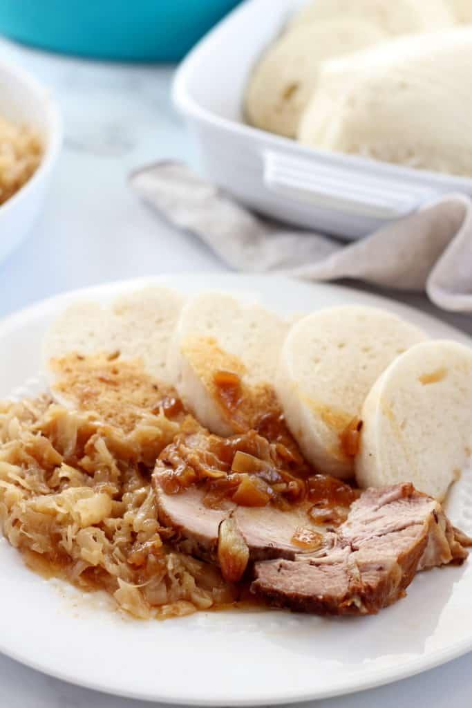czech roast pork with sauerkraut and dumplings (knedlo vepro zelo)