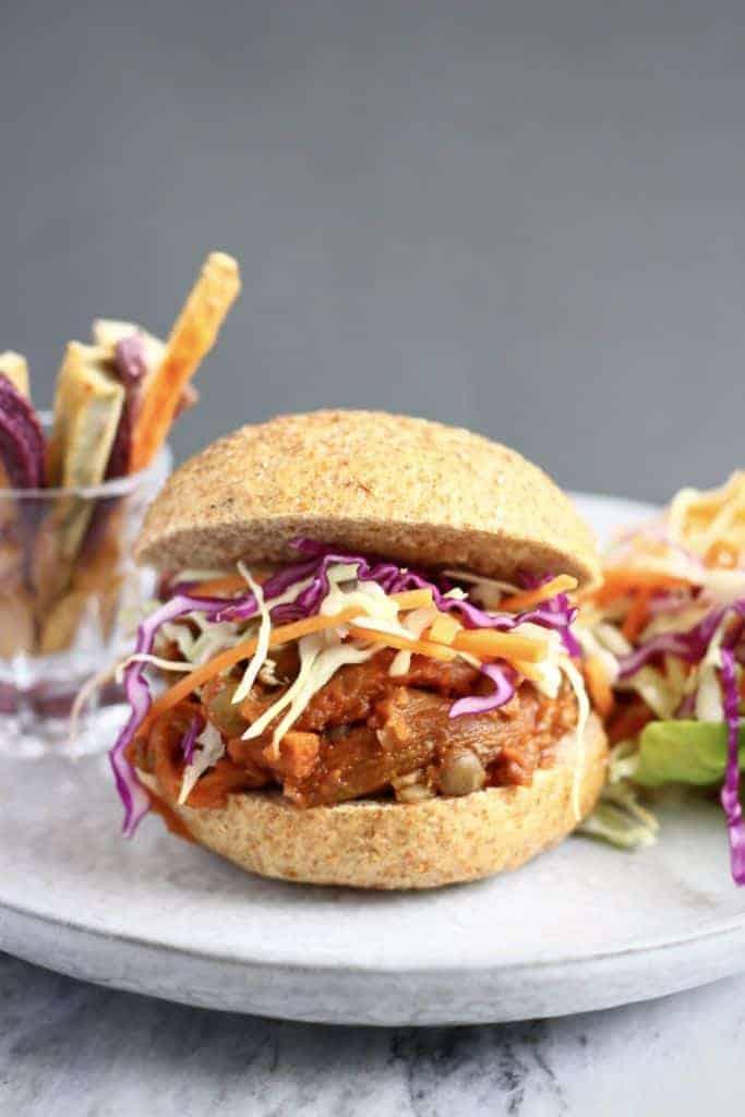 vegan eggplant pulled pork burger