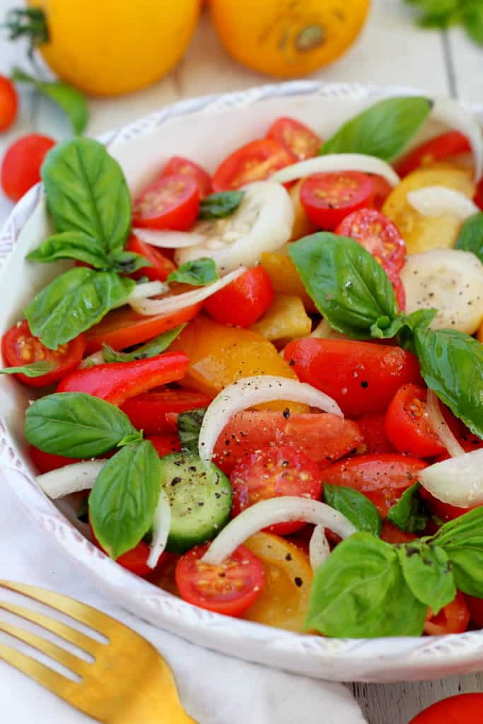 close op of cucumber and tomato salad