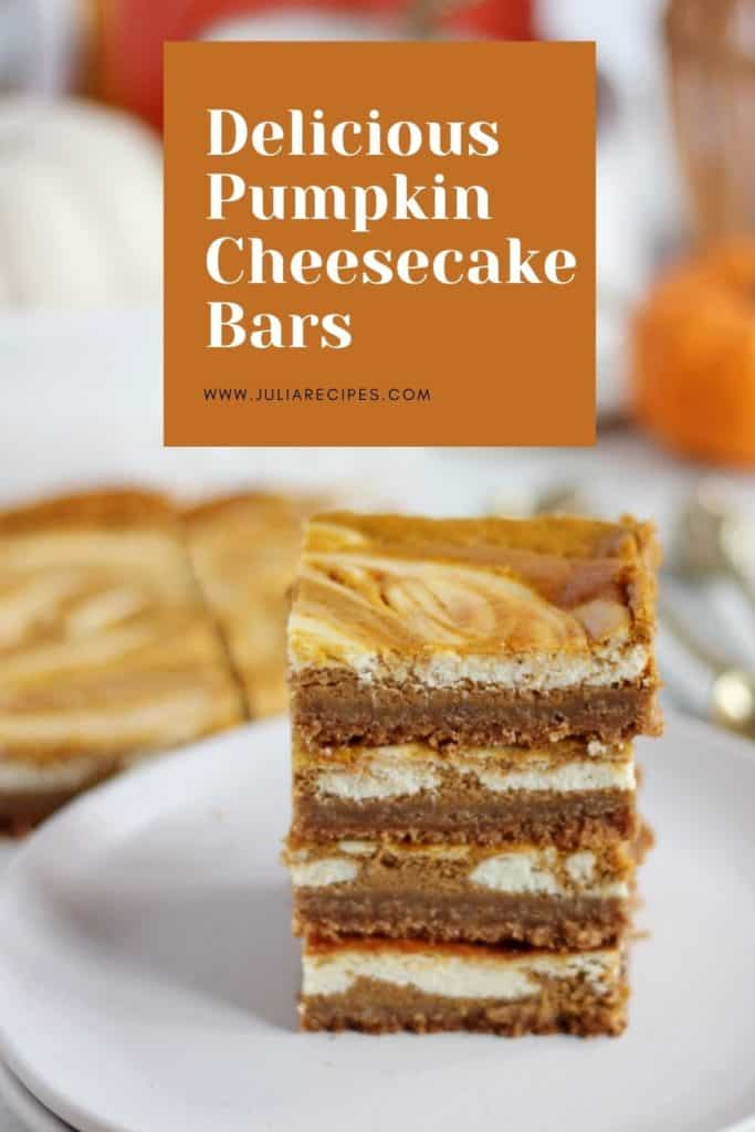 delicious pumpkin cheesecake bars pinterest graphics