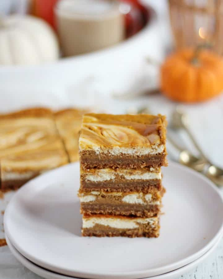 pumpkin bars on white plate