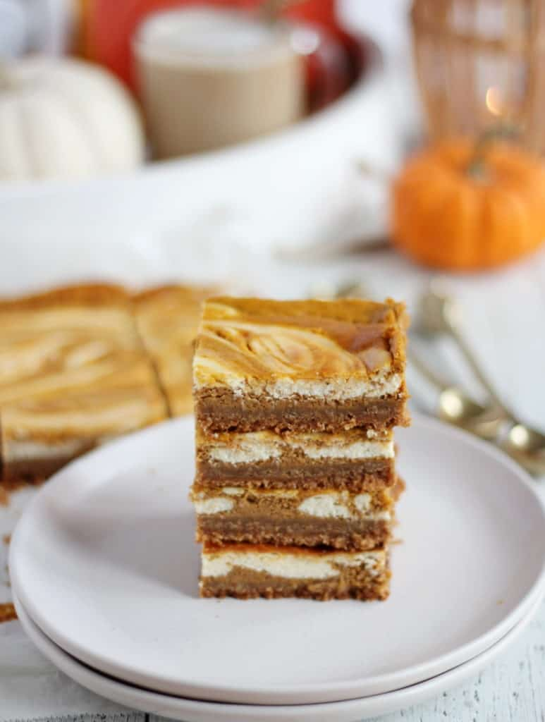 pumpkin bars on white plate