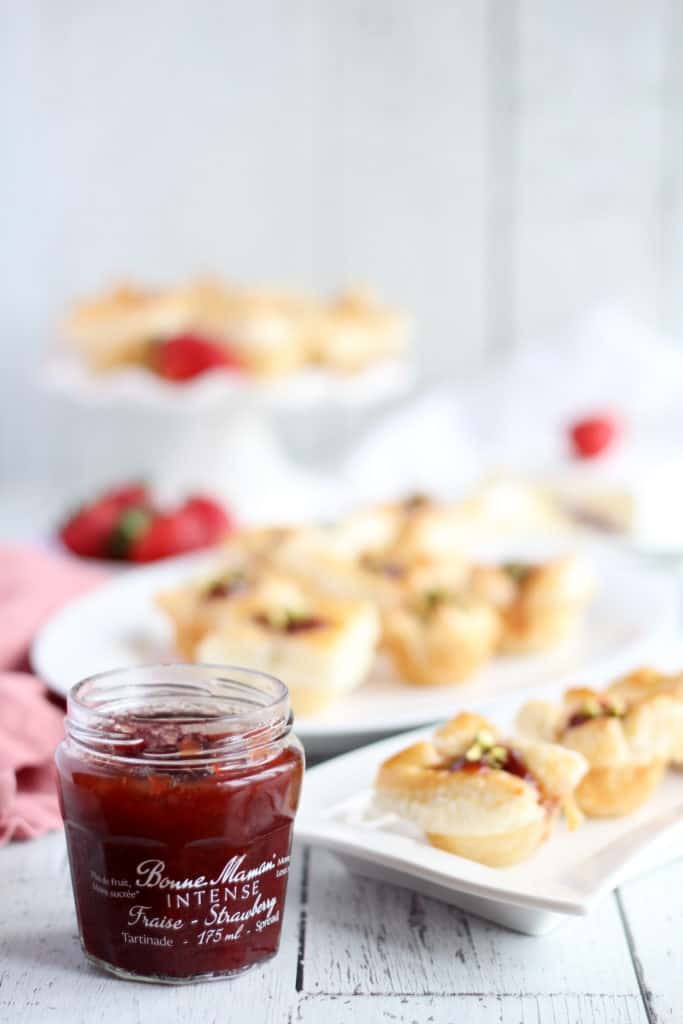 strawberry jam and brie bites