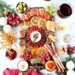 holiday spread on the table with deli meats and cheeses