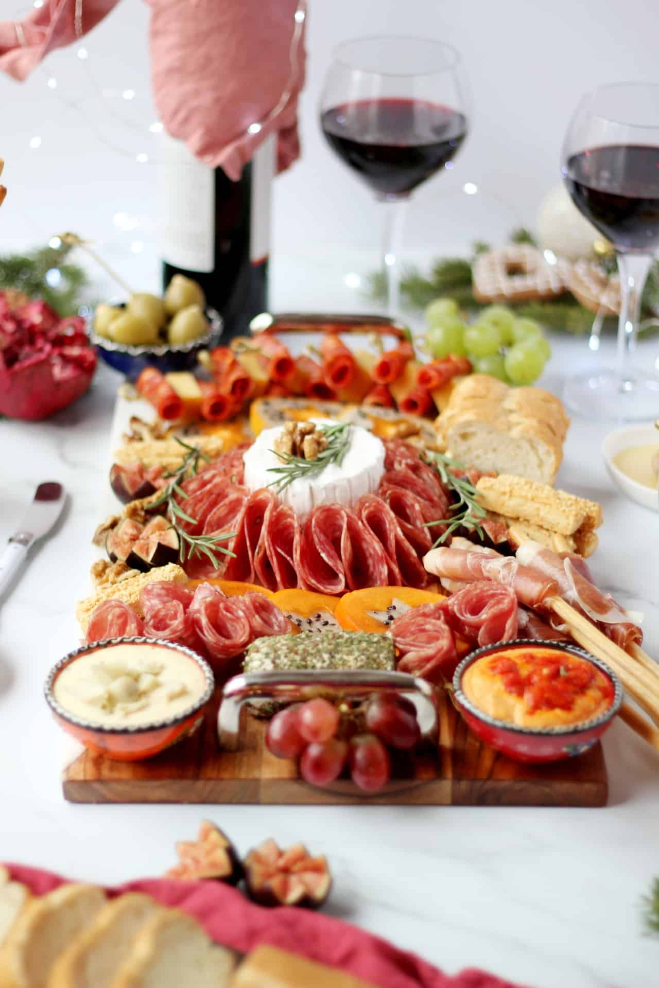 christmas board with deli meats