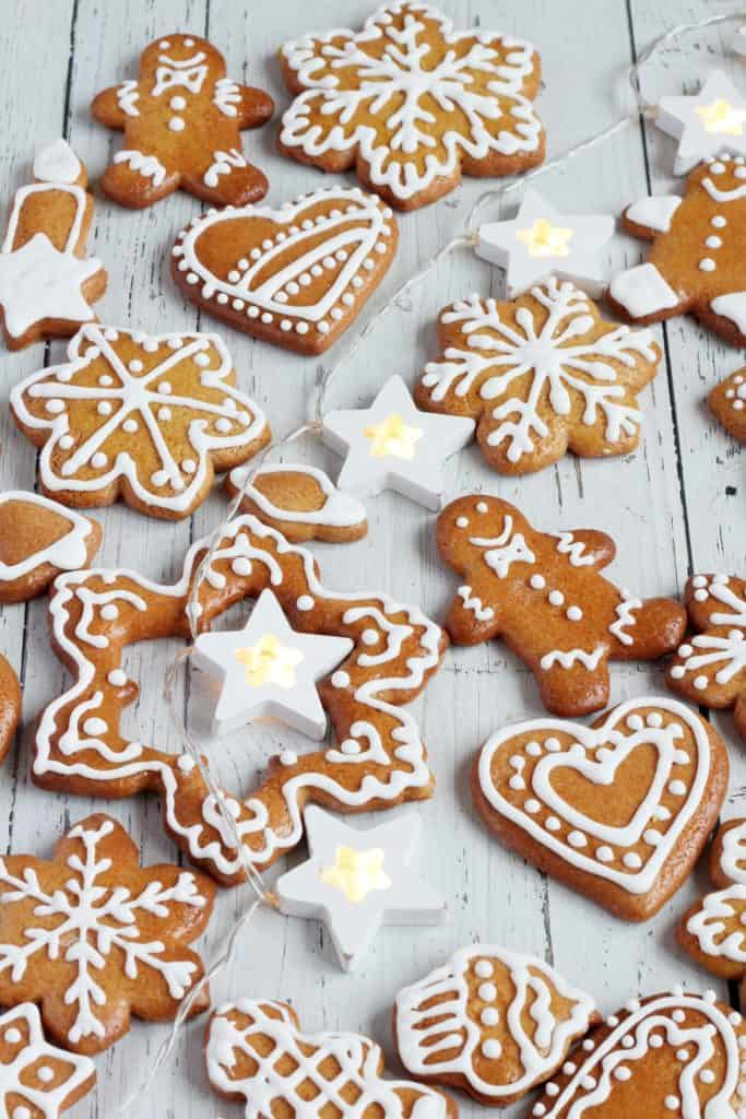 ginger cookies decorated with icing